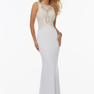 Fitted Jersey Prom Dress with Illusion Neckline and Beaded Embroidery on Net Bodice