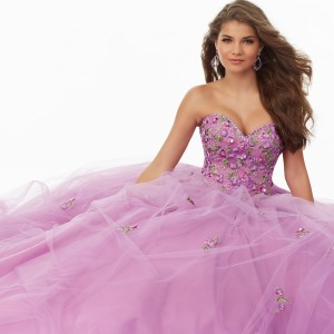 Floral Embroidered Tulle Prom Gown with Beaded Sweetheart Neckline