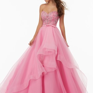 Organza Prom Gown with Sweetheart Neckline and Beaded Bodice