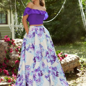 Two-Piece Prom Dress with Off-the-Shoulder Neckline and Floral Printed Taffeta Skirt-02