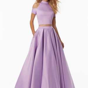 Two-Piece Satin Prom Dress with Exposed Shoulders and Button Back Detail
